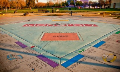 Lifesize version of Monopoly board game