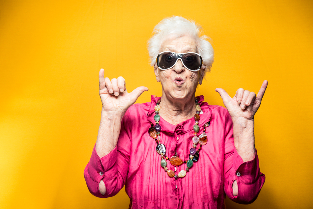 Grandmother rocking her cool with sunglasses and a pose